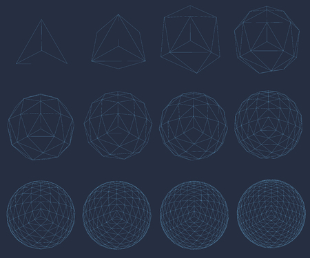 set with wireframe of geometric figures, a sequence of complications of the figure of a sphere Geometric shapes from the blue lines. Polygonal shapes for your projects. 3D Vector illustration Illustration