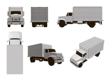 Zestaw z ciężarówkami. 6 białych modeli ciężarówek pod różnymi kątami. Ilustracja wektorowa 3D.