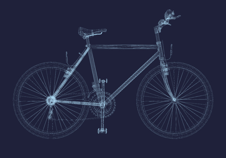 Bicycle wireframe. Detailed model of the Bicycle frame on a dark background. Bicycle consists of blue lines. 3D. Side view. Vector illustration.