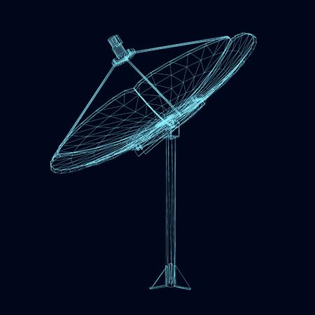 Wireframe satellite dish 3D vector. Polygonal satellite dish of blue lines on a dark background. Isolated satellite dish. Vector illustration. Vektoros illusztráció