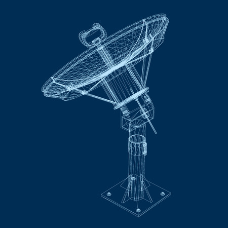 Wireframe satellite dish 3D vector. Polygonal satellite dish of blue lines on a dark background. Isolated satellite dish. Vector illustration.