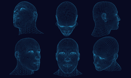 Set with polygonal head of a man on a dark background. Wireframe of the head of a man from the blue lines. 3D. Detailed wireframe of the human head. Vector illustration.