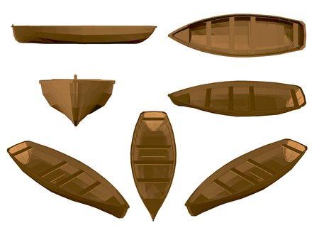 Sertie de bateau en bois. Bateau en bois marron dans différentes positions. 3D. Côté, avant, isométrique, vue de dessus. Illustration vectorielle avec des bateaux. Vecteurs