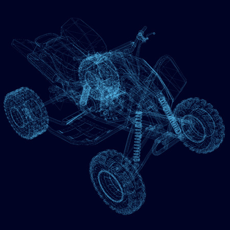 ATV wireframe. Isometric view. Polygonal detailed quad bike. 3D. Vector illustration. Illustration