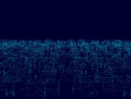 Perspective 3D of building wireframe. Background with blue frame buildings - Vector illustration Illustration