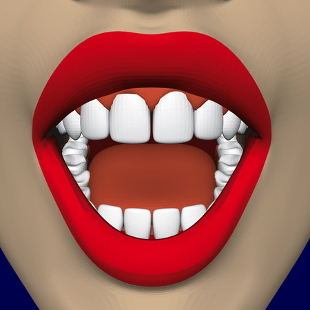 Open mouth of a girl with bright red lips and snow-white healthy teeth. 3D. Vector illustration Ilustração