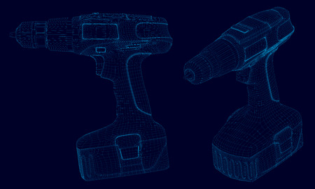 Set with a wireframe of the drill of blue lines on a dark background. Side view and isometry. 3D. Vector illustration. Foto de archivo - 124736110