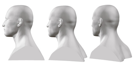 Vector set of isolated male busts of mannequins on white background. 3D. Male bust from different sides. Vector illustration Vettoriali