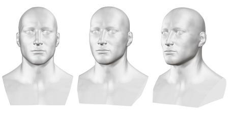 Ensemble de vecteurs de bustes masculins isolés de mannequins sur fond blanc. 3D. Buste masculin de différents côtés. Illustration vectorielle Vecteurs