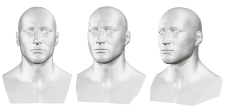 Vector set of isolated male busts of mannequins on white background. 3D. Male bust from different sides. Vector illustration Иллюстрация