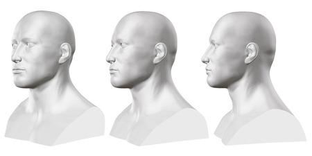 Ensemble de vecteurs de bustes masculins isolés de mannequins sur fond blanc. 3D. Buste masculin de différents côtés. Illustration vectorielle
