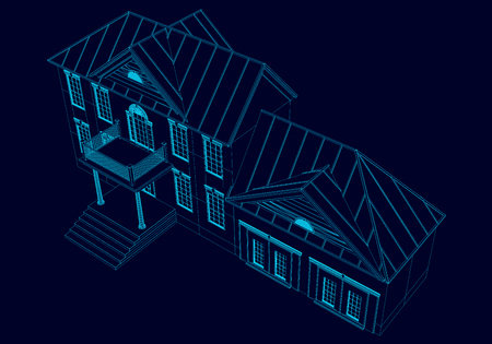 Wireframe of the house of the blue lines on a dark background. 3D Vector illustration.