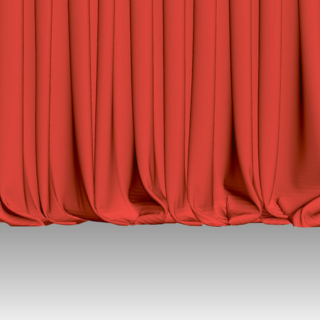 Background with luxury scarlet red silk velvet curtains and draperies