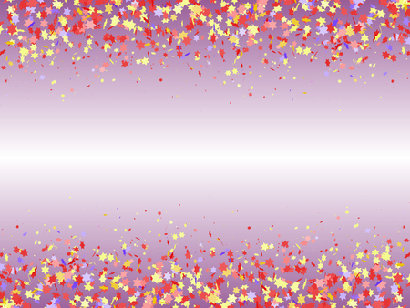 Festive background with multicolored confetti top and bottom. Multicolored stars. Vector illustration. Ilustração