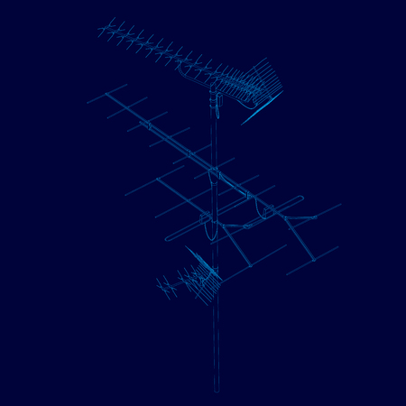 Antenna wireframe of blue lines on a dark background. Contour detailed antenna. Communication antenna isolated on a dark background. Vector illustration