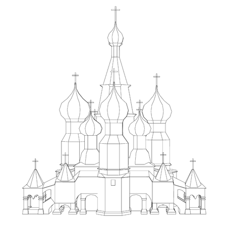 Contour of the church with domes. Front view. Vector illustration