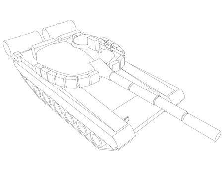 Outline of the battle tank of black lines on a white background. Isometric view. Vector illustration Иллюстрация