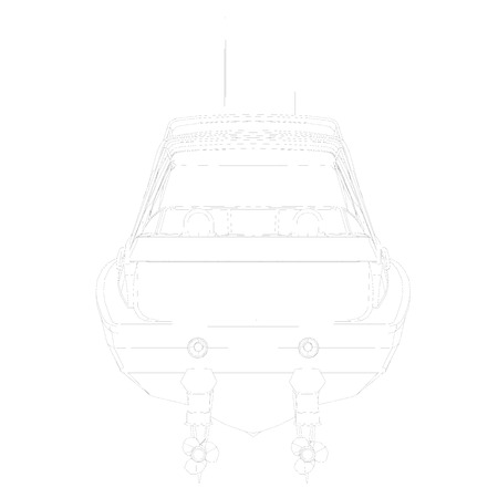 Outline sports boat. Back view. Vector illustration. Illustration