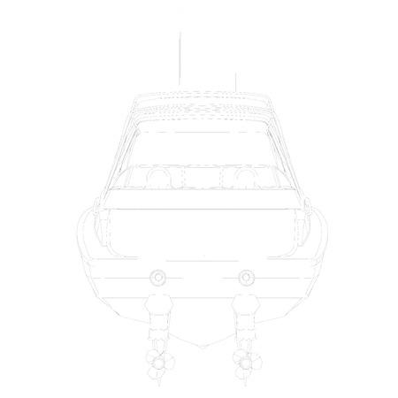 Outline sports boat. Back view. Vector illustration. Illustration