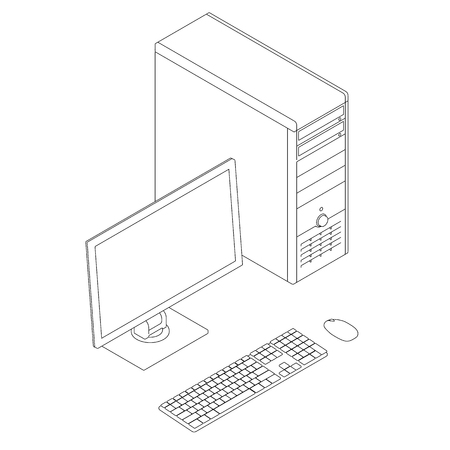 Outline of the computer with a monitor, keyboard and mouse. Isometric view. Vector illustration