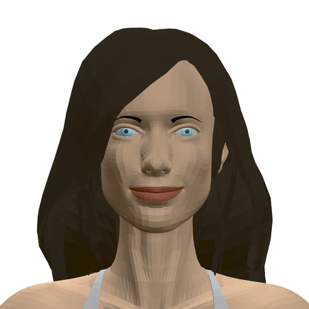 Portrait of a polygonal girl with long black hair and blue eyes. 3D Vector illustration Banque d'images - 119061870