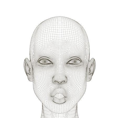 Wireframe d'une tête de fille avec une expression surprise et une bouche ouverte. Tête de fille polygonale isolée sur fond blanc. 3D. Illustration vectorielle.
