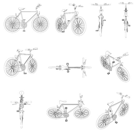 Set with detailed contours of bicycles. Front, top, isometric, back, side view Vector illustration