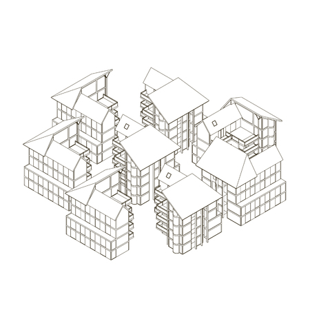 Contour of houses. Isometric view. 3D. Vector illustration Çizim