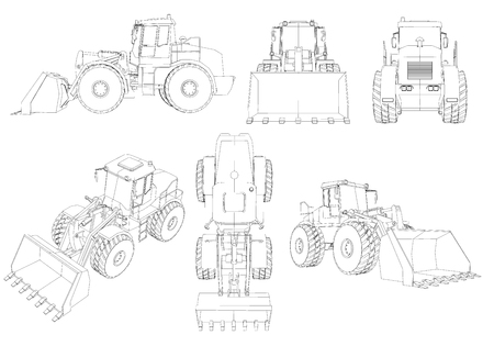 Set with contours of the bulldozer. 3D. Black line bulldozer isolated on white background. Bulldozer from different angles. Vector illustration. Vetores