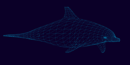 Wireframe of the polygonal dolphin of blue lines on a dark background. 3D. Side view. Vector illustration