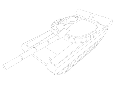contour of the battle tank of black lines on a white background. Isometric view. Vector illustration