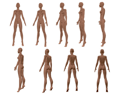 Stellen Sie mit einem polygonalen Mädchen ein. 3D. Die Reihenfolge der Arten von vorne nach hinten. Vektor-Illustration