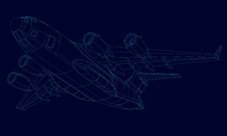 Contour of the plane of the blue lines on a dark background. Bottom view. 3D. Vector illustration