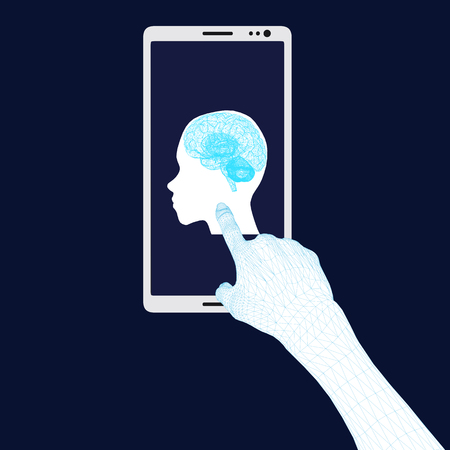 Background with a telephone and a polygonal hand pointing to the screen with the head of a man with brains. Vector illustration Illustration