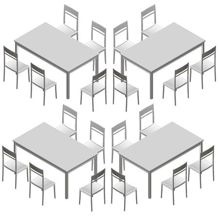 Set con tavoli e sedie. Vista isometrica. Illustrazione vettoriale Vettoriali