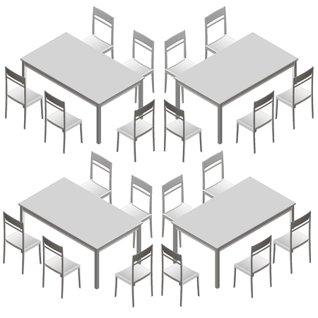 Set with tables and chairs. Isometric view. Vector illustration