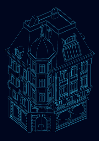 Contour of the building. Isometric view. Contour of the building of the blue lines on a dark background. Vector illustration Illustration