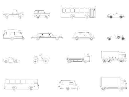 Set with contours of cars. Buses, cars, limousine, trucks. Side view. Vector illustration