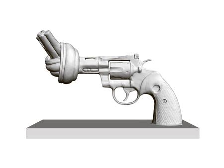 Statue de revolver à canon tordu, Non à la violence. 3D. Revolver polygonal sur fond blanc isolé. Monument contre l'usure en Suède. Illustration vectorielle