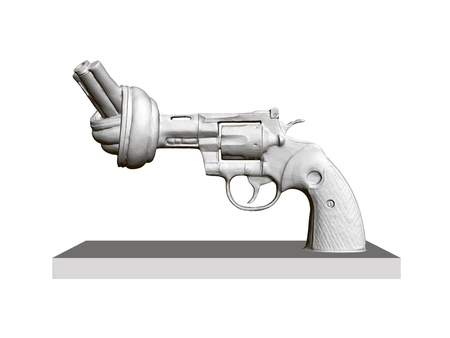 Statue of revolver with twisted barrel, No to violence. 3D. Polygonal revolver on isolated white background. Monument against wear in Sweden. Vector illustration