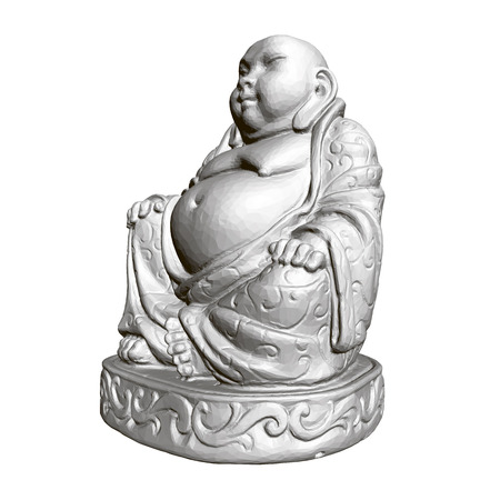 Polygonal statue of Maitreya. 3D. Side view.