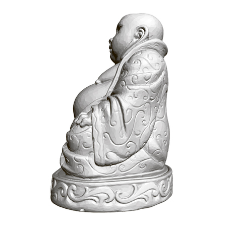 Polygonal statue of Maitreya. 3D. Side view
