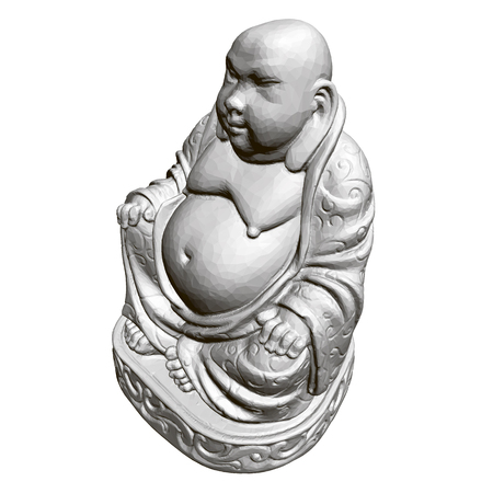 Polygonal statue of Maitreya. 3D. Isometric view