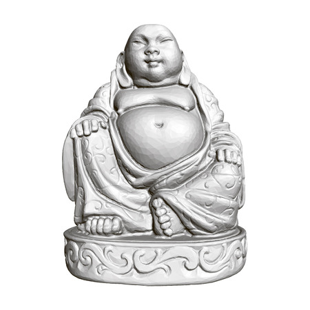 Polygonal statue of Maitreya. 3D. Front view