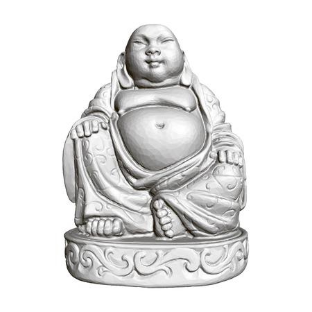 Statue polygonale de Maitreya. 3D. Vue de face