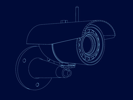 Wireframe camera frame. Isometric view. Contour of the surveillance camera of the blue lines on a dark background. Vector illustration