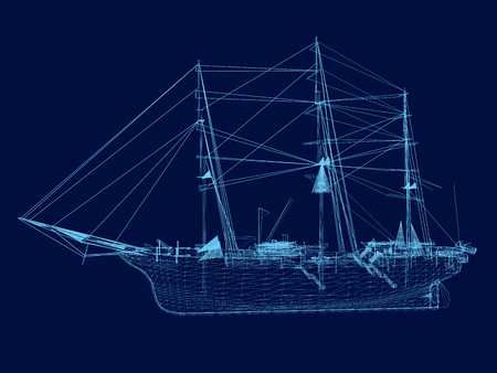 Wrieframe of an old sailing ship. Side view. Vector illustration