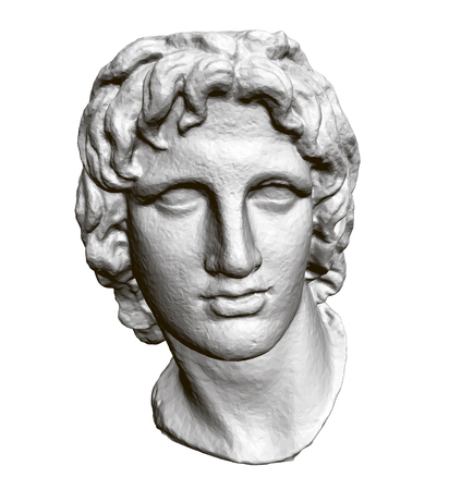 Sculpture of the head of Alexander of Macedon. 3D. Polygonal sculpture head. Vector illustration