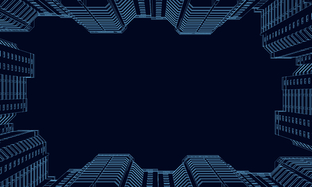 Wireframe of polygonal high-rise buildings of blue lines on a dark background. Bottom view. 3D. Vector illustration.