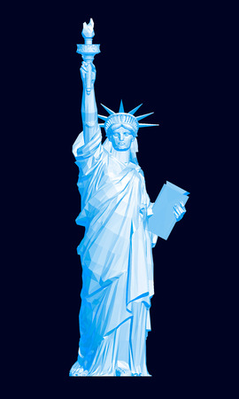 Polygonal Statue of Liberty in blue. 3D. Vector illustration.